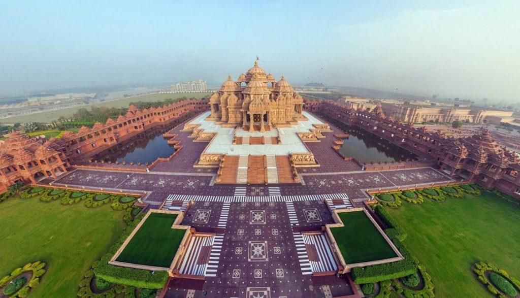 vue aérienne du temple et ses jardins