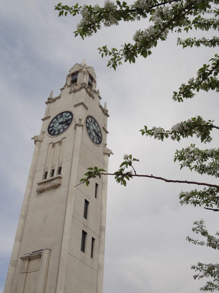 Tour de l'horloge avec des fleurs du printemps